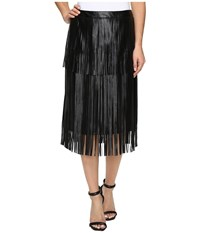 Vince Camuto Pleather Fringe Tiered Skirt Rich Black Women's Skirt
