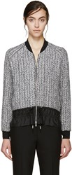 3.1 Phillip Lim Silver Braided Knit Bomber Jacket