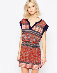Brave Soul Belted Tunic Dress Red Combo