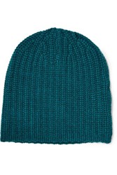 Magaschoni Ribbed Cashmere Beanie Petrol