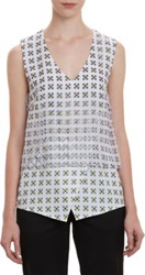 Thakoon Floral Organza Overlay Sleeveless Top Yellow