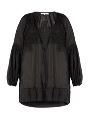 Lila Eugenie Cotton Blend Voile Cover Up Black