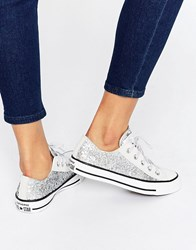 Converse All Star Chuck Taylor Sequin Ox Silver Plimsoll Trainers Silver