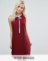 Vero Moda Petite Bow Front Lace Mini Dress Burgundy Red
