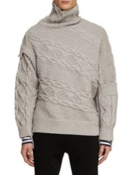 Burberry Cable And Rib Knit Collage Sweater Pale Grey