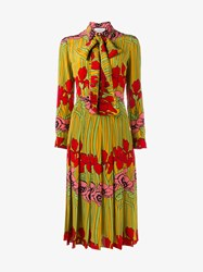 Gucci Floral Print Silk Dress Yellow Multi Coloured Pearl Green Denim