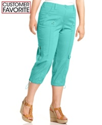 Style And Co. Plus Size Cargo Capri Pants Pacific Aqua