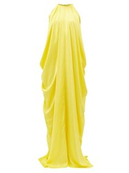 Halpern Halterneck Draped Satin Dress Yellow