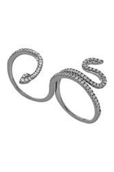 Doublanc Black Rhodium Plated Sterling Silver Cz Snake Two Finger Ring Metallic