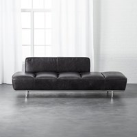 Cb2 Lawndale Black Leather Daybed