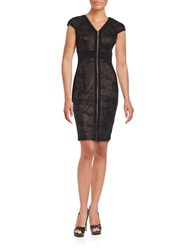 Jax Zip Front Metallic Panelled Cap Sleeve Sheath Dress Black Rose