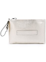 Red Valentino Studded Metallic Grey Clutch Women Sheep Skin Shearling Metal Other One Size