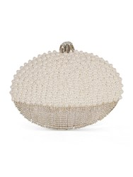 Chesca Pearl And Diamante Oval Clutch Bag Silver Metallic