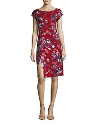 Eci Printed Roundneck Sheath Dress Red