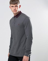 Fred Perry Polo Shirt With Woven Collar And Long Sleeves In Graphite Marl Graph Ml Grey