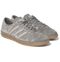 Adidas Originals Hamburg Faux Leather Trimmed Suede Sneakers Gray