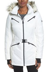 Michael Michael Kors Women's Belted Mixed Media Coat With Faux Fur Trim Hood White