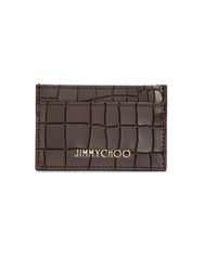 Jimmy Choo Croc Embossed Card Case Brown