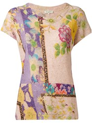 Etro Floral Pattern Knitted T Shirt Nude Neutrals