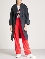 Moandco. Double Breasted Cotton Trench Coat Peacoat