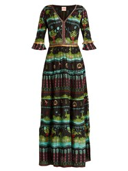 Le Sirenuse Positano Anita Eden Print V Neck Silk Dress Black Multi