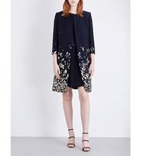 Oscar De La Renta Falling Flowers Cloque Coat Navy Gold