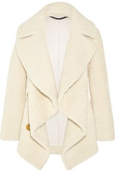 Burberry Shearling And Cable Knit Coat Ivory