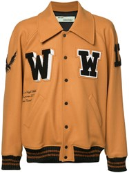 Off White Patched Varsity Jacket Brown
