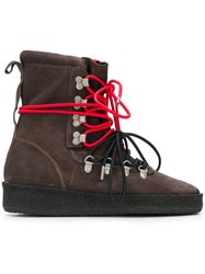 Represent Contrast Lace Hiking Style Boot Brown