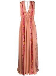 Blumarine Floral Panelled Gown Pink