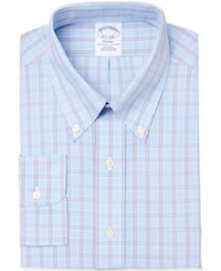 Brooks Brothers Men's Regent Classic Fit Non Iron Light Blue Checked Dress Shirt