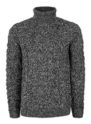 Topman Mid Grey Black And White Twist Textured Roll Neck Sweater