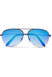 Victoria Beckham Aviator Style Metal Mirrored Sunglasses Blue