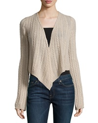 Minnie Rose Cashmere Cable Knit Open Cardigan French Taupe
