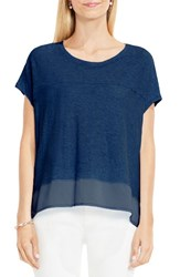 Vince Camuto Women's Two By Mixed Media Step Hem Tee Indigo Heather
