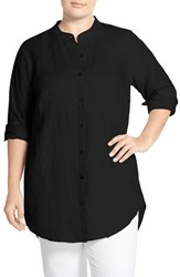 Plus Size Women's Eileen Fisher Organic Linen Mandarin Collar Tunic Black