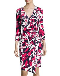 Laundry By Shelli Segal 3 4 Sleeve Floral Print Wrap Dress Red Pattern