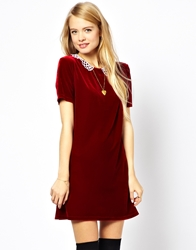 Asos Reclaimed Vintage '20S Velvet Mini Dress With Crochet Collar