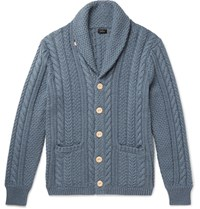 J.Crew Shawl Collar Cable Knit Cotton Cardigan Blue