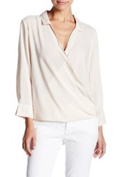 Velvet By Graham And Spencer Challis Surplice Wrap Blouse Beige