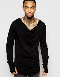 Asos Longline Long Sleeve T Shirt With Draped Cowl Neck And Thumbholes Black