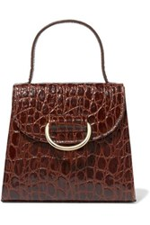 Little Liffner Lady Croc Effect Leather Tote Brown