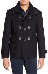 Men's Michael Kors Duffle Coat With Removable Hood Office Navy