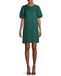 Milly Melinda Short Sleeve Leopard Print Silk Shift Dress Emerald