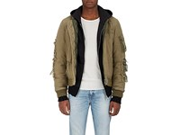 R 13 R13 Men's Distressed Canvas Puffer Bomber Jacket Dark Green