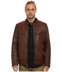 Marc New York Gramercy Bubble P U Moto Jacket W Chest Zipper Pockets Mahogany Men's Coat