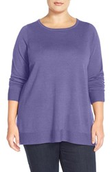 Plus Size Women's Eileen Fisher Ballet Neck Boxy Merino Jersey Sweater Aster