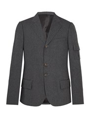Wales Bonner Single Breasted Patch Pocket Woven Blazer Grey