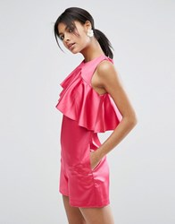 Asos Premium Playsuit With Asymmetric Ruffle Bright Pink