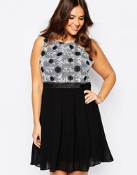 Praslin Plus Size Skater Dress With Embroidered Top Black